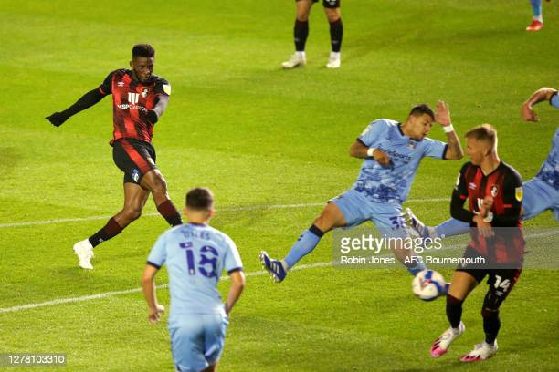 Jefferson Lerma of Bournemouth scores a goal to make it 1-0 during the Sky Bet Championship match between Coventry City and AFC Bournemouth at St...