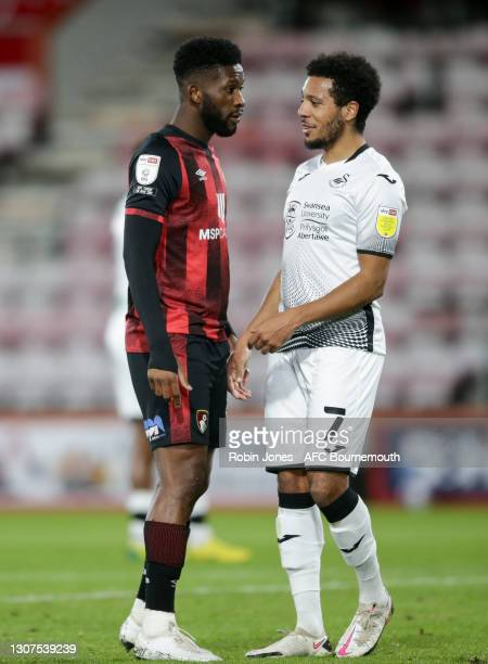 Jefferson Lerma of Bournemouth with Korey Smith of Swansea City during the Sky Bet Championship match between AFC Bournemouth and Swansea City at...
