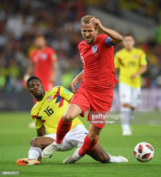 Jefferson Lerma of Colombia fouls Harry Kane of England during the 2018 FIFA World Cup Russia Round of 16 match between Colombia and England at...