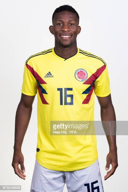 Jefferson Lerma of Colombia poses for a portrait during the official FIFA World Cup 2018 portrait session at Kazan Ski Resort on June 13 2018 in...