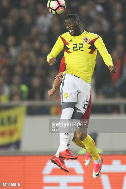 Jefferson Lerma of Columbia National Team heads the ball during the international friendly match between China and Columbia at Chongqing Olympic...