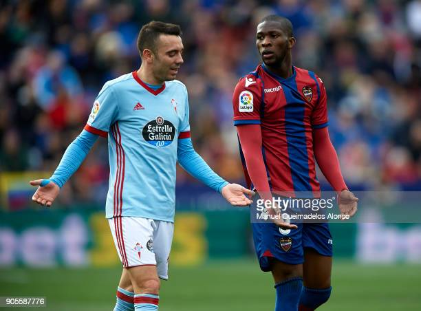 Jefferson Lerma of Levante reacts next to Iago Aspas of Celta de Vigo during the La Liga match between Levante and Celta de Vigo at Ciutat de...
