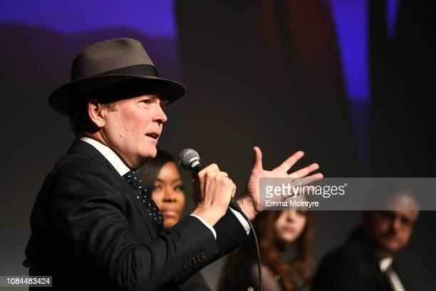 Jefferson Mays Golden Brooks India Eisley and Sam Sheridan speak onstage during the 'I Am the Night' screening at LACMA on January 17 2019 in Los...