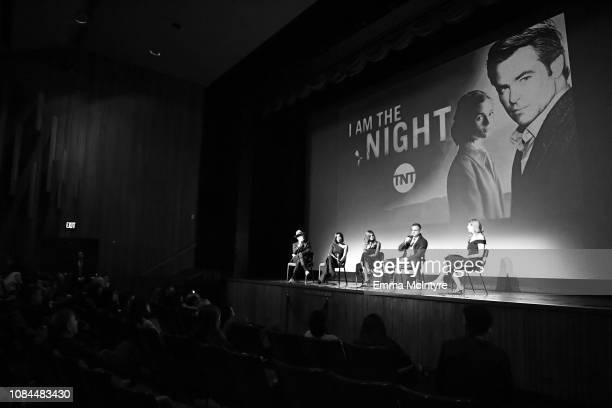 Jefferson Mays Golden Brooks India Eisley Sam Sheridan and moderator Deb Fankin speak onstage during the 'I Am the Night' screening at LACMA on...