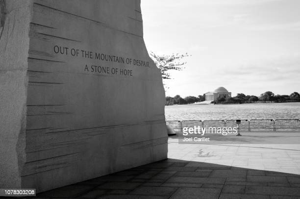 jefferson memorial and martin luther king jr memorial at tidal basin - black civil rights stock pictures, royalty-free photos & images