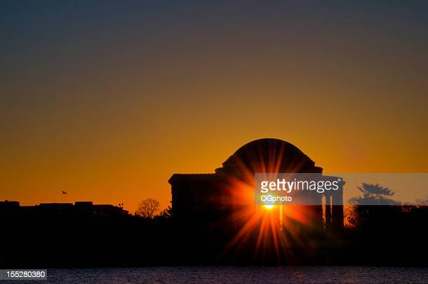 jefferson memorial sonnenaufgang - ogphoto stock-fotos und bilder