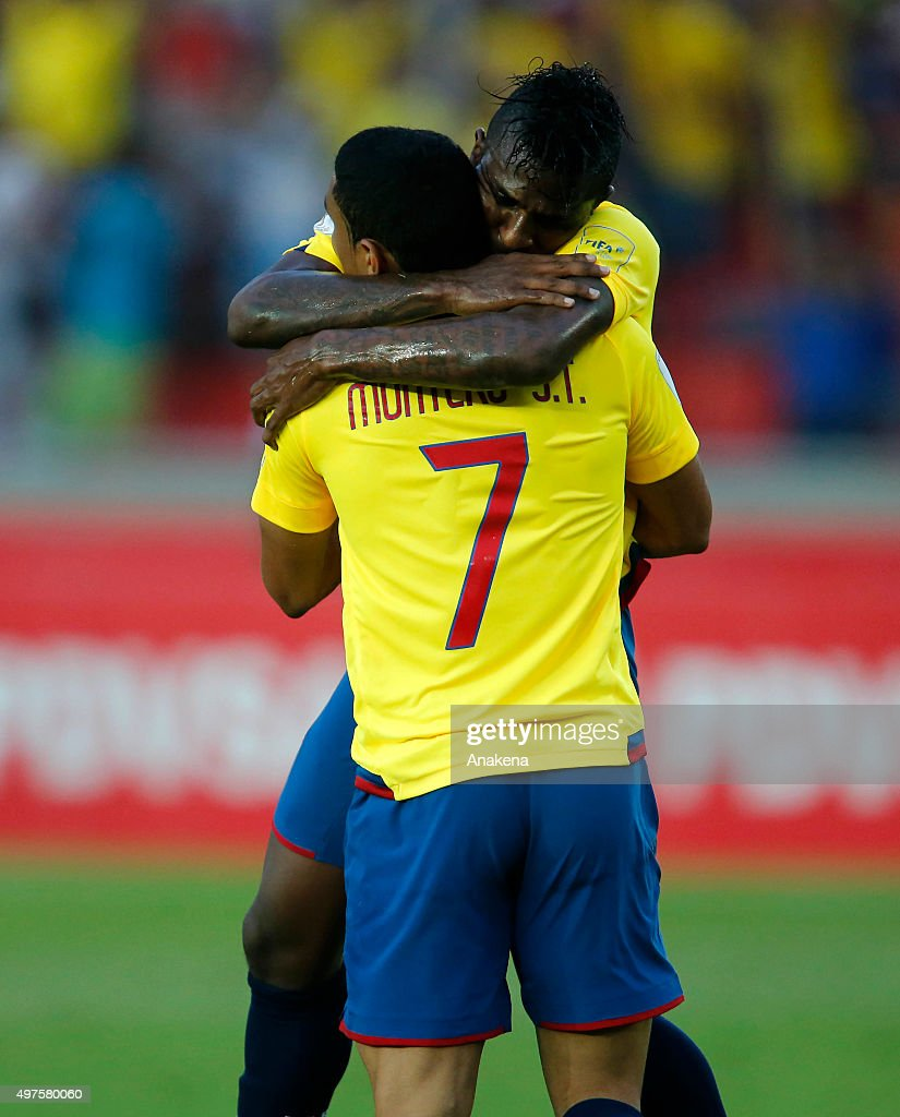 Jefferson Montero and Miler Bola–nos of Ecuador celebrate the second goal of his team during a match between Venezuela and Ecuador as part of FIFA 2018 World Cup Qualifiers at CTE Cachamay Stadium on November 17, 2015 in Puerto Ordaz, Venezuela.