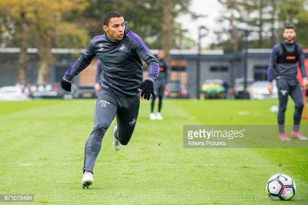 Jefferson Montero in action during the Swansea City Training at The Fairwood Training Ground on April 20 2017 in Swansea Wales