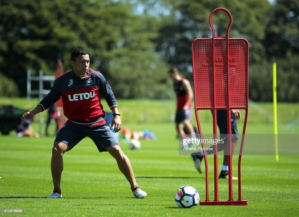 Jefferson Montero in action during the Swansea City Training at The Fairwood Training Ground on July 5, 2017 in Swansea, Wales.