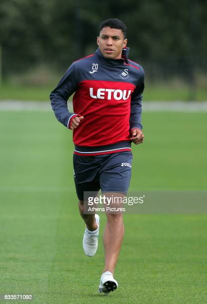 Jefferson Montero in action during the Swansea City Training at The Fairwood Training Ground on August 16 2017 in Swansea Wales