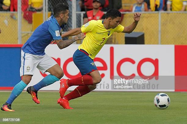 Jefferson Montero of Ecuador battles a ball with Dani Alves of Brazil during a match between Ecuador and Brazil as part of FIFA 2018 World Cup...
