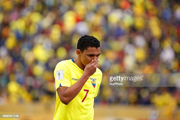 Jefferson Montero of Ecuador during World Cup Qualifying match Russia 2018 played between Ecuador and Brazil that is played at the Olimpic Stadium...