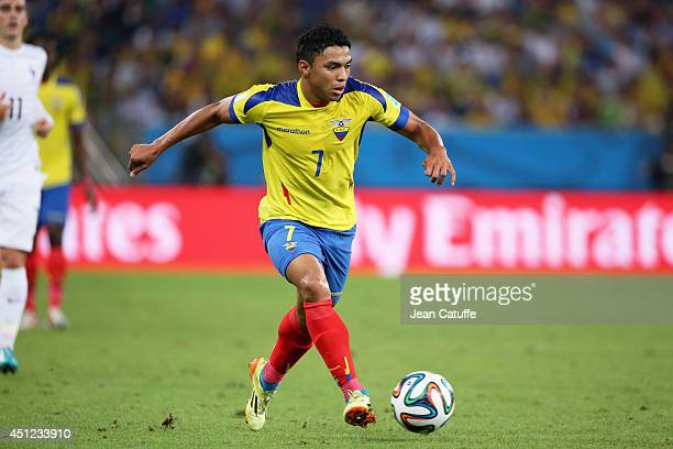 Jefferson Montero of Ecuador in action during the 2014 FIFA World Cup Brazil Group E match between Ecuador and France at Maracana on June 25 2014 in...