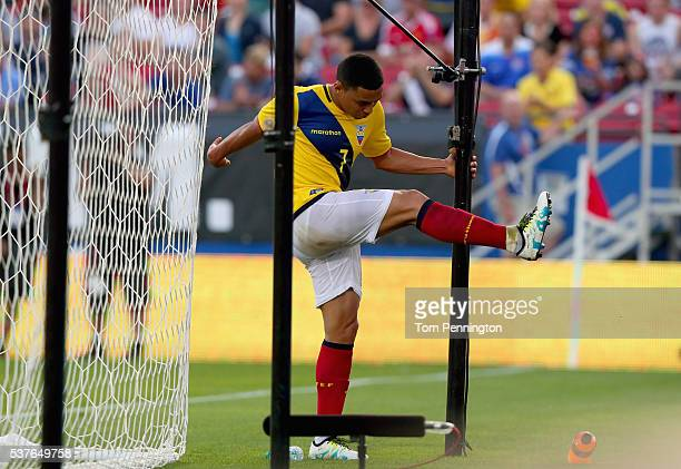 Jefferson Montero of Ecuador reacts to a missed goal against the United States during an International Friendly match at Toyota Stadium on May 25...