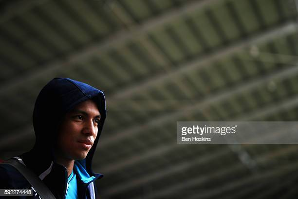 Jefferson Montero of Swansea City arrives at the stadium prior to kick off during the Premier League match between Swansea City and Hull City at...