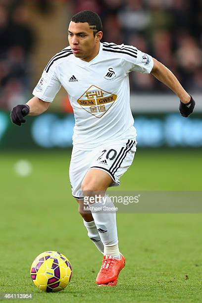 Jefferson Montero of Swansea City during the Barclays Premier League match between Swansea City and Manchester United at Liberty Stadium on February...