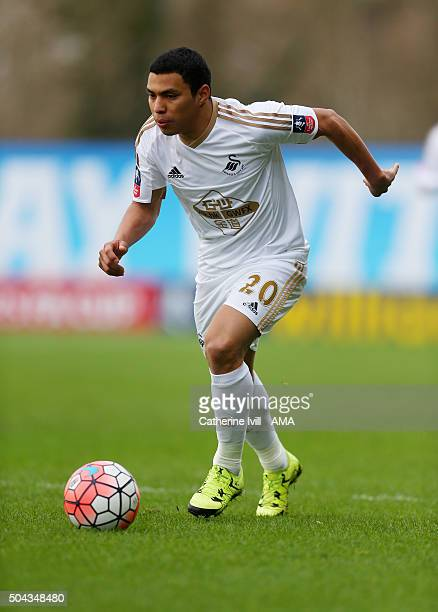 Jefferson Montero of Swansea City during The Emirates FA Cup match between Oxford United and Swansea City at Kassam Stadium on January 10 2016 in...