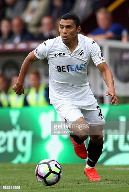 Jefferson Montero of Swansea City during the Premier League match between Burnley and Swansea City at Turf Moor on August 13 2016 in Burnley England