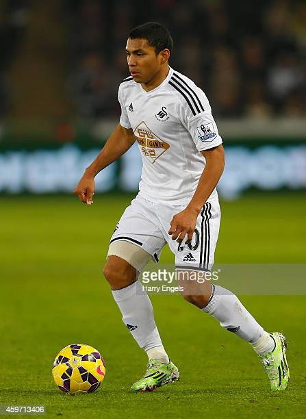 Jefferson Montero of Swansea City in action during the Barclays Premier League match between Swansea City and Crystal Palace at the Liberty Stadium...