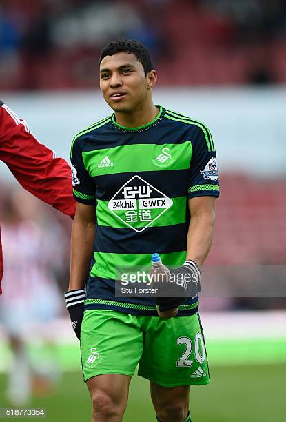 Jefferson Montero of Swansea City raises a smile after the Barclays Premier League match between Stoke City and Swansea City at Britannia Stadium on...