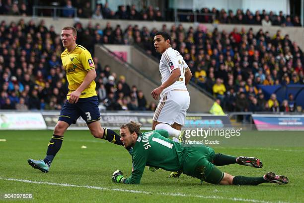 Jefferson Montero of Swansea City turns away after scoring the opening goal past Sam Slocombe of Oxford United during The Emirates FA Cup third round...