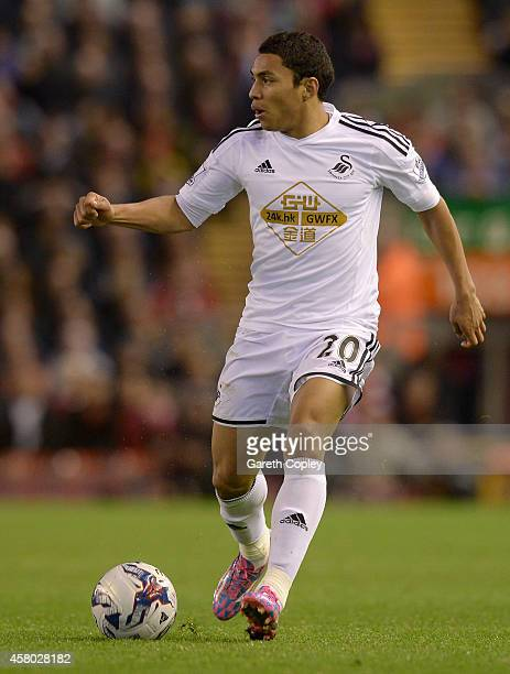 Jefferson Montero of Swansea during the Capital One Cup Fourth Round match between Liverpool and Swansea City at Anfield on October 28 2014 in...