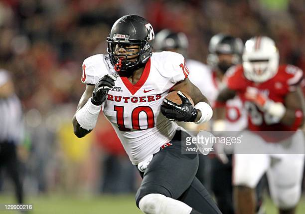 C Jefferson of the Rutgers Scarlet Knights runs with the ball during the game against the Louisville Cardinals at Papa John's Cardinal Stadium on...