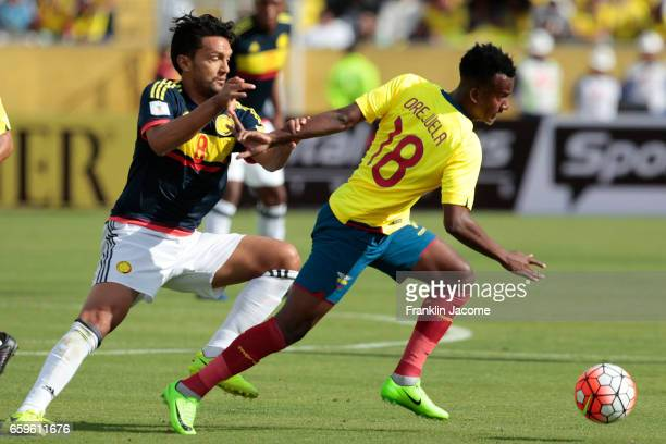 Jefferson Orejuela of Ecuador fights for the ball with Abel Aguilar of Colombia during a match between Ecuador and Colombia as part of FIFA 2018...