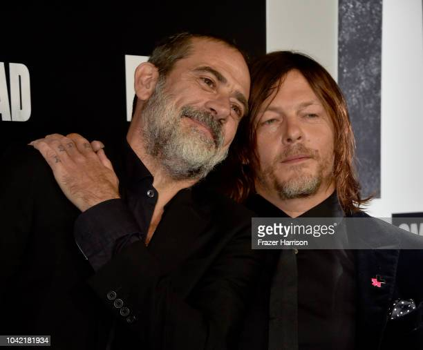 Jeffery Dean Morgan Norman Reedus attend the Premiere of AMC's 'The Walking Dead' Season 9 at DGA Theater on September 27 2018 in Los Angeles...