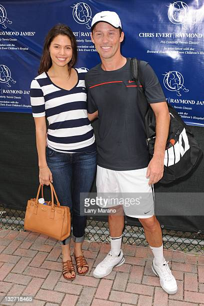 Jeffery Donovan and Michelle Woods attend the Chris Evert/Raymond James ProCelebrity Tennis Classic at Delray Beach Tennis Center on November 13 2011...