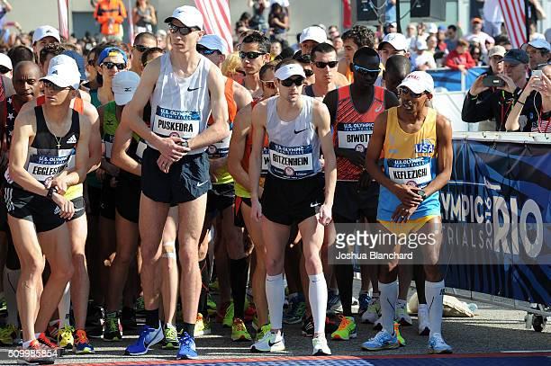 Jeffery Eggleston Luke Puskedra Dathan Ritzenhein and Meb Keflezighi at the start of the US Olympic Team Trials Marathon on February 13 2016 in Los...