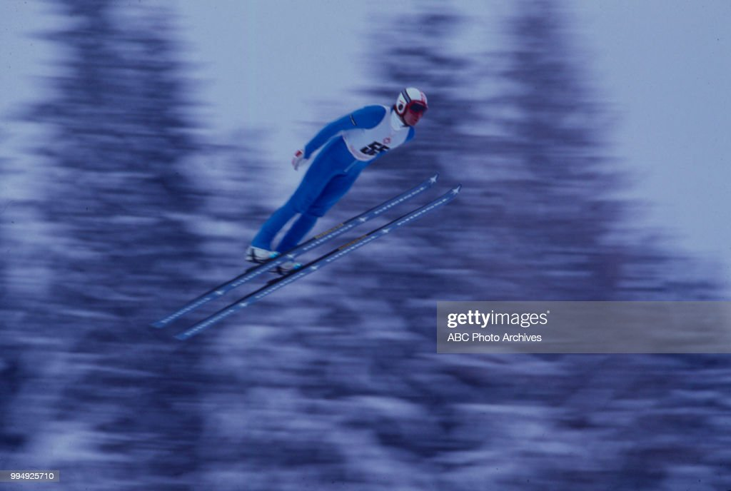 Jeffery Hastings competing in the 70 meter ski jump at the 1984 Winter Olympics / XIV Olympic Winter Games, Igman Olympic Jumps.