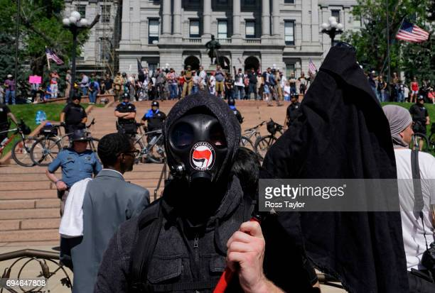 Jeffery Keacher of Colorado Springs participates in a counterprotest against the 'Denver March Against Sharia' on June 10 2017 in Denver United...