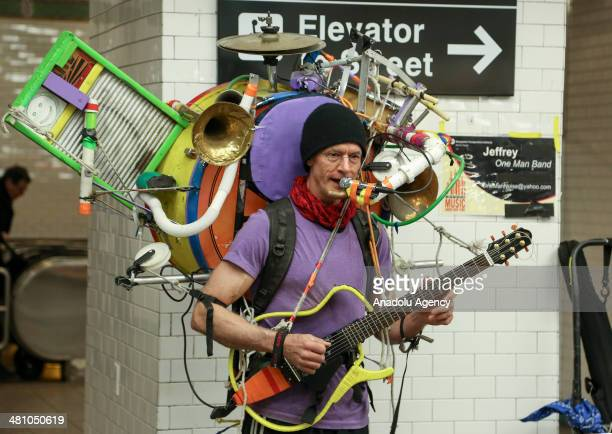 Jeffery Masin a multiinstrumentalist performing in New York subway within Arts for Transit and Urban Design March 28 2014 Masin playing 9 instruments...