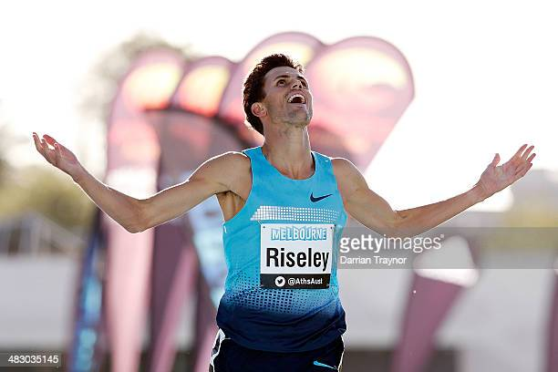 Jeffery Riseley wins the 1500m final during the 92nd Australian Athletics Championships on April 6 2014 in Melbourne Australia