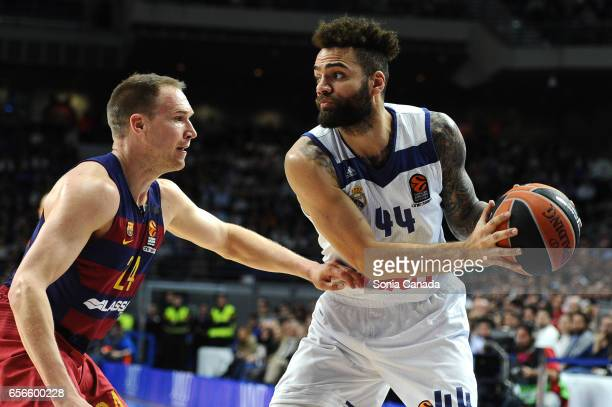 Jeffery Taylor #44 forward of Real Madrid and Brad Oleson #24 guard of FC Barcelona during the 2016/2017 Turkish Airlines Euroleague Regular Season...