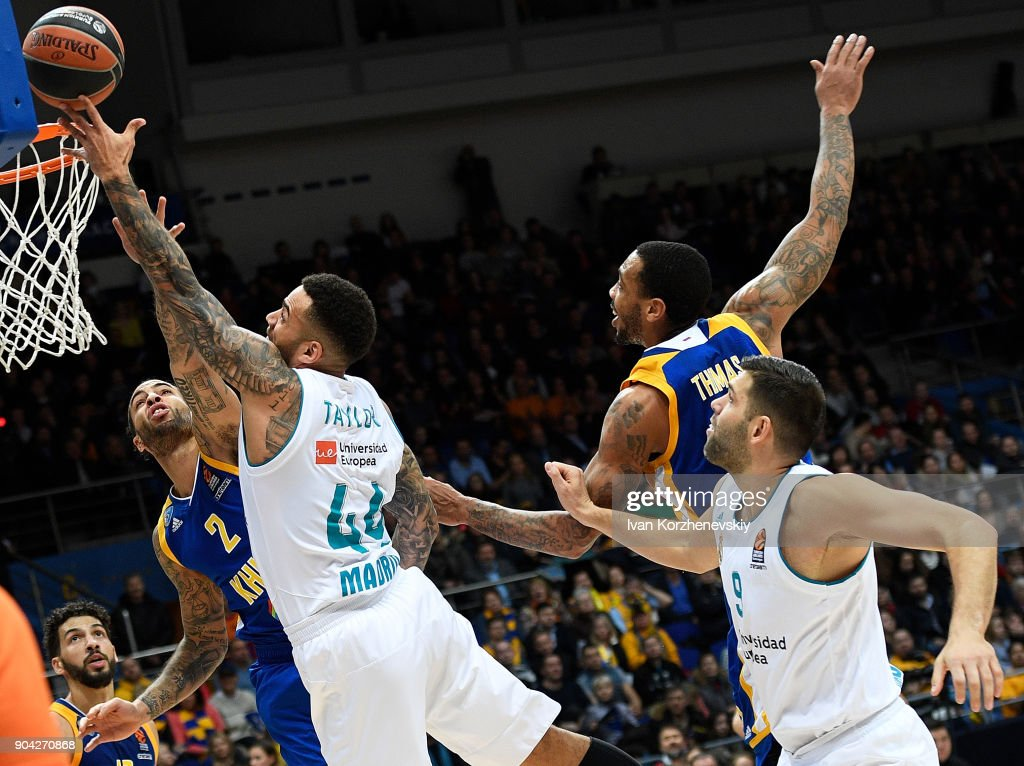Jeffery Taylor, #44 of Real Madrid competes with Tyler Honeycutt, #2 of Khimki Moscow Region during the 2017/2018 Turkish Airlines EuroLeague Regular Season Round 17 game between Khimki Moscow Region and Real Madrid at Arena Mytishchi on January 12, 2018 in Moscow, Russia.