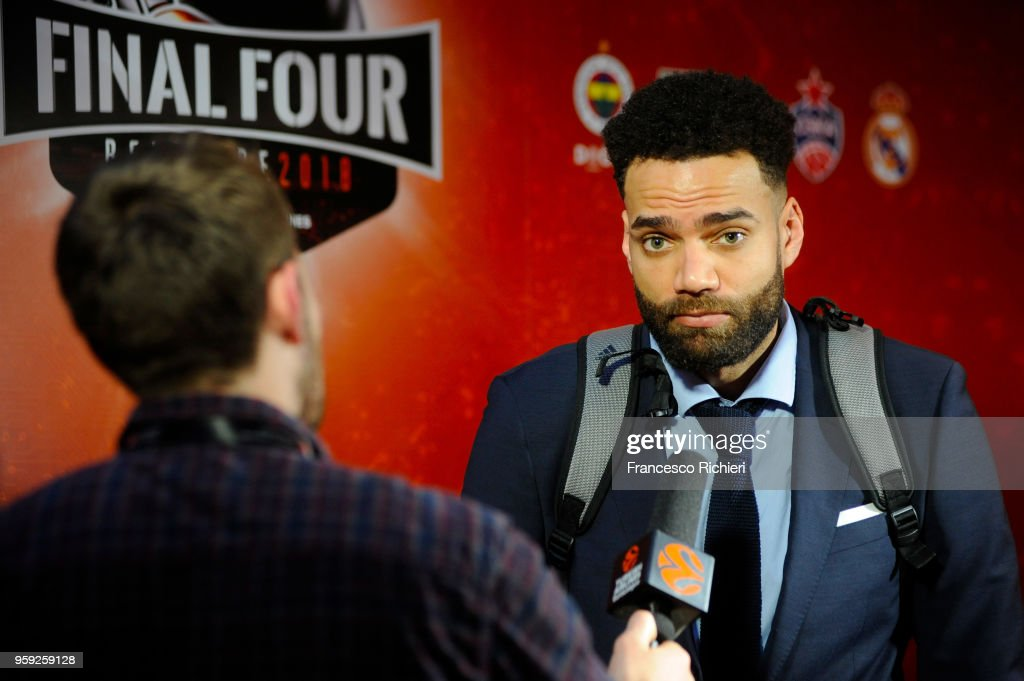 Jeffery Taylor, #44 of Real Madrid during the Real Madrid arrival to participate of 2018 Turkish Airlines EuroLeague F4 at Hyatt Regency Hotel on May 16, 2018 in Belgrade, Serbia.