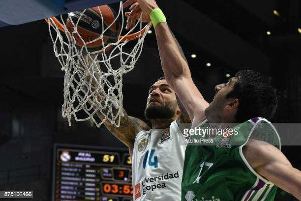 Jeffery Taylor #44 of Real Madrid in action during the Euroleague basketball match between Real Madrid and Unicaja Malaga played at WiZink center in...