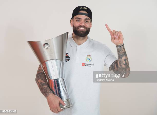 Jeffery Taylor #44 of Real Madrid poses during the 2018 Turkish Airlines EuroLeague F4 Champion Photo Session with Trophy at Stark Arena on May 20...