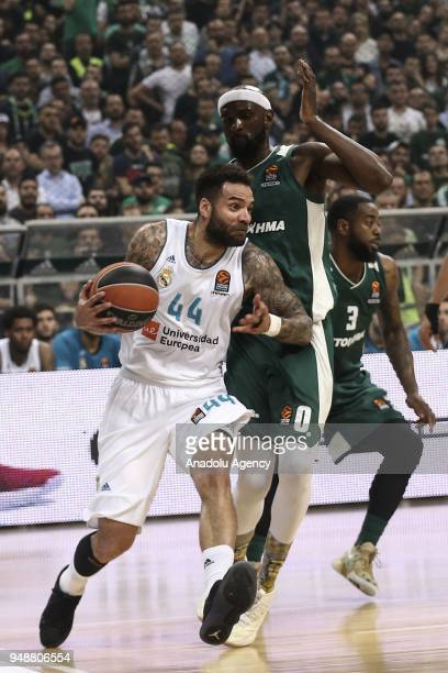 Jeffery Taylor of Real Madrid in action against Chris Singleton of Panathinaikos Superfoods during Turkihs Airlines Euroleague Quarter Finals second...