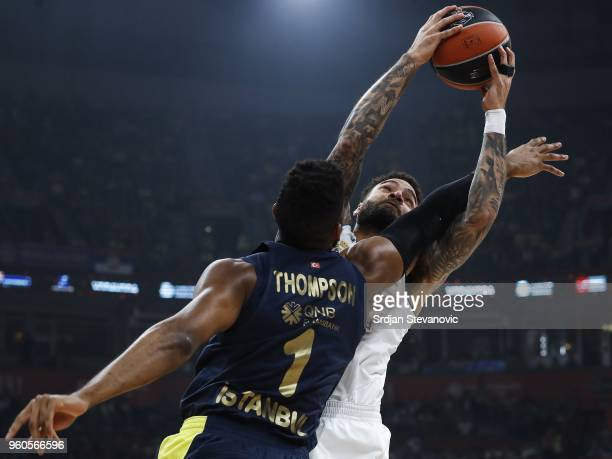 Jeffery Taylor of Real Madrid in action against Jason Thompson of Fenerbahce during the Turkish Airlines Euroleague Final Four Belgrade 2018 Final...