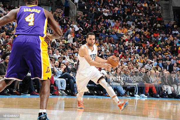 Jeffery Taylor of the Charlotte Bobcats drives to the basket against Antawn Jamison of the Los Angeles Lakers on February 8 2013 at the Time Warner...