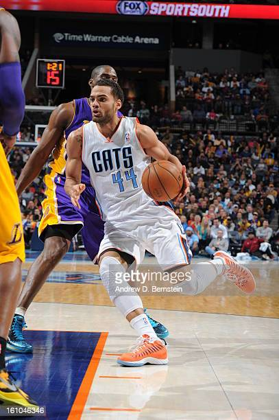Jeffery Taylor of the Charlotte Bobcats drives to the basket against the Los Angeles Lakers on February 8 2013 at the Time Warner Cable Arena in...