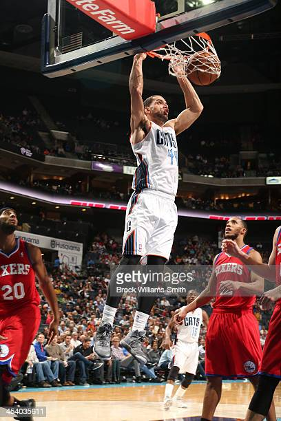Jeffery Taylor of the Charlotte Bobcats dunks against the Philadelphia 76ers during the game at the Time Warner Cable Arena on December 6 2013 in...