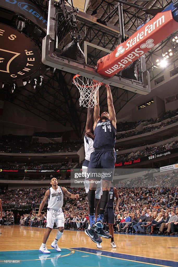 Jeffery Taylor #44 of the Charlotte Bobcats dunks the ball against the Dallas Mavericks on October 26, 2012 at the American Airlines Center in Dallas, Texas.