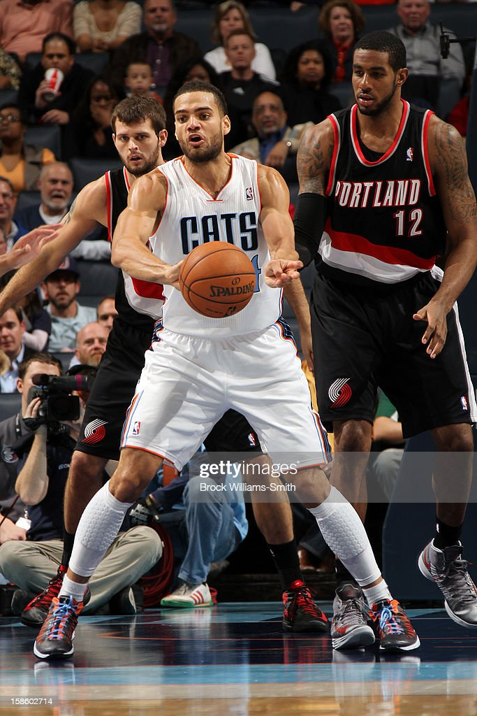 Jeffery Taylor #44 of the Charlotte Bobcats passes the ball against the Portland Trail Blazers at the Time Warner Cable Arena on December 3, 2012 in Charlotte, North Carolina.