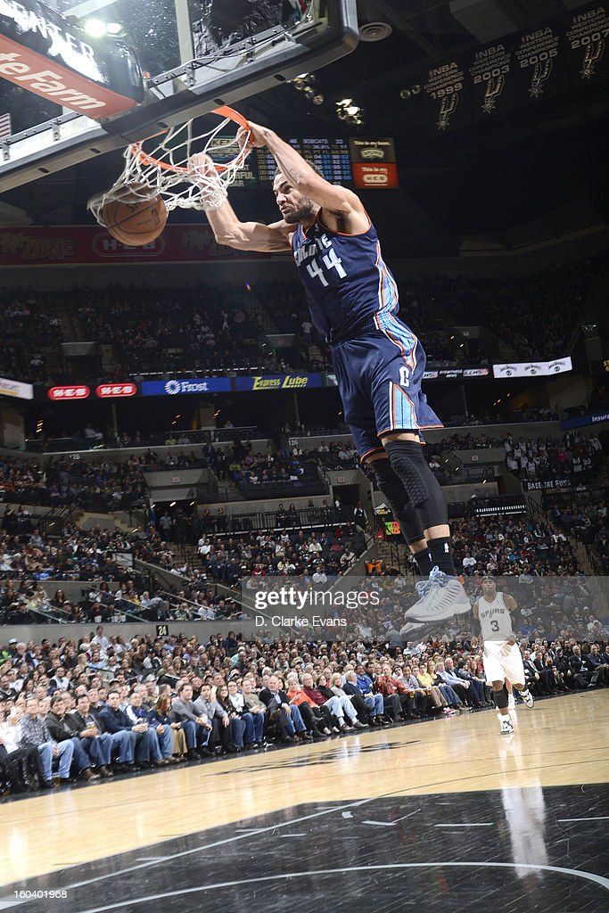 Jeffery Taylor #44 of the Charlotte Bobcats slamdunks the ball against the San Antonio Spurs on January 30, 2013 at the AT&T Center in San Antonio, Texas.