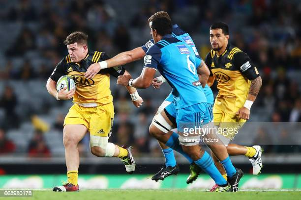 Jeffery To'omagaAllen of the Hurricanes charges forward during the round eight Super Rugby match between the Blues and the Hurricanes at Eden Park on...