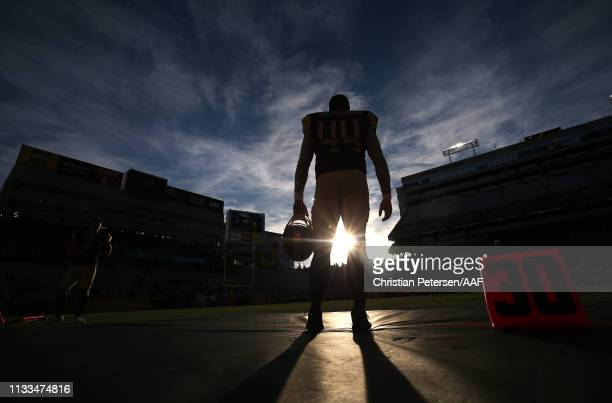 Jeff Overbaugh of the Atlanta Legends stands on the field before playing in the Alliance of American Football game against the Arizona Hotshots at...